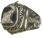 Sterling Silver Moose 9 oclock ceremony ring
